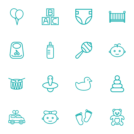 Set Of 16 Kid Outline Icons Set.Collection Of Clockwork Car, Teddy, Nipple And Other Elements.