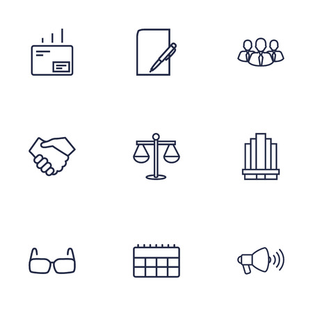 Set Of 9 Management Outline Icons Set.Collection Of Mail, Loudspeaker, Team And Other Elements.