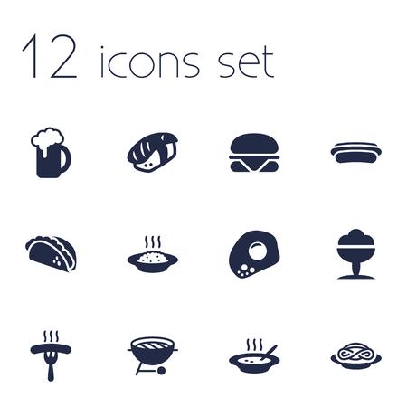 Set Of 12 Food Icons Set.Collection Of Spaghetti, Broth, Frankfurter And Other Elements. Ilustração