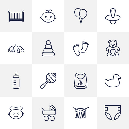 Set Of 16 Child Outline Icons Set.Collection Of Teddy, Crib, Bottle And Other Elements.