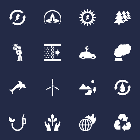 Set Of 16 Ecology Icons Set.Collection Of Treatment, Warm, Energy And Other Elements. Illustration