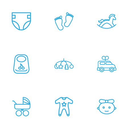 Set Of 9 Baby Outline Icons Set.Collection Of Bib, Carriage, Diaper And Other Elements.