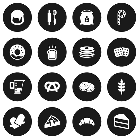 bretzel: Set Of 16 Cooking Icons Set.Collection Of Slice Bread, Crepe, Measurement And Other Elements.