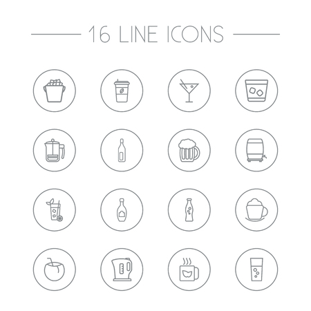 Set Of 16 Beverages Outline Icons Set.Collection Of Coconut, Wine Cask, Soda And Other Elements.