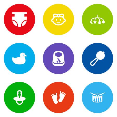 Zestaw 9 dzieci zestaw ikon. Kolekcja smoczek, pieluchy, kaczki i inne elementy. Ilustracje wektorowe