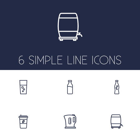 distillery: Set Of 6 Drinks Outline Icons Set.Collection Of Fizzy Water, Soda, Wine Cask And Other Elements.
