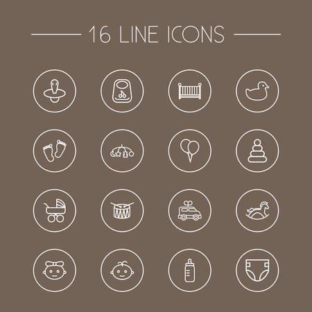 deluxe: Set Of 16 Baby Outline Icons Set.Collection Of Pyramid, Balloon, Diaper And Other Elements.