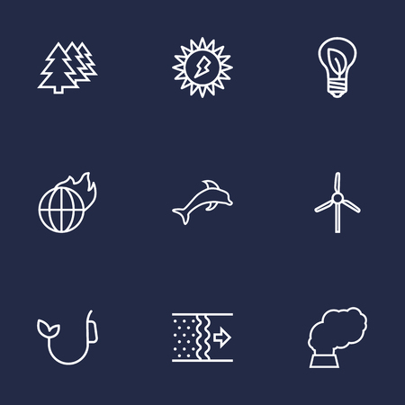 contamination: Set Of 9 Atmosphere Outline Icons Set.Collection Of Fuel, Pollution, Wind Turbine And Other Elements.