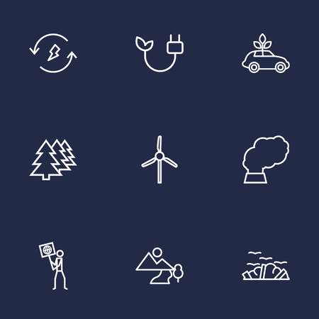 Set Of 9 Ecology Outline Icons Set.Collection Of Garbage, Electricity, Afforestation And Other Elements.