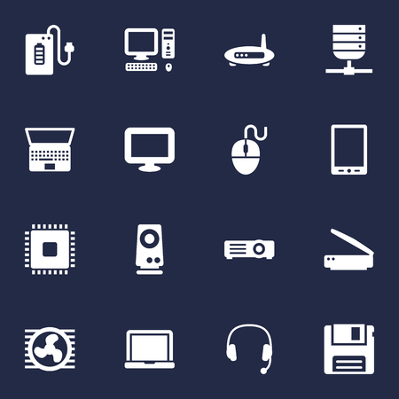 Set Of 16 Laptop Icons Set.Collection Of Supply, Computer, Fan And Other Elements. Illustration