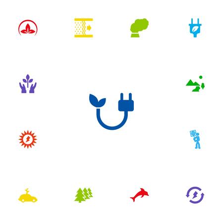 Set Of 13 Bio Icons Set.Collection Of Protection, Fish, Energy And Other Elements.