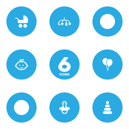 Set Of 6 Baby Icons Set.Collection Of Baby, Pram, Toy And Other Elements.