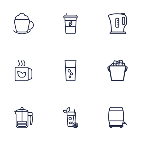 ice tea: Set Of 9 Beverages Outline Icons Set.Collection Of Coffee, Mug, French Press And Other Elements.