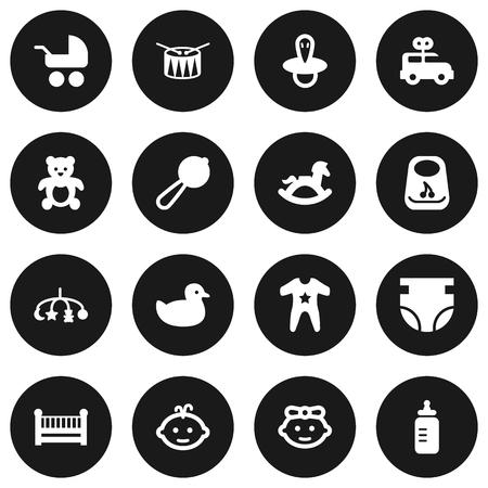 Zestaw 16 zestaw ikon dla dzieci. Kolekcja kaczki, beczki, autobus i inne elementy. Ilustracje wektorowe