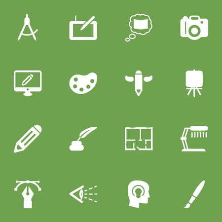 Set Of 16 Creative Icons Set.Collection Of Stand , Compass , Pen Elements.