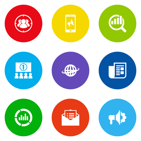 brand monitoring: Set Of 9 Trade Icons Set.Collection Of Loudspeaker, World, Auditorium And Other Elements. Illustration