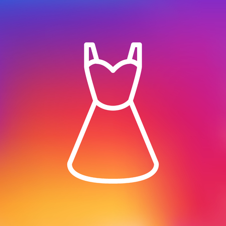 Isolated Evening Gown Outline Symbol On Clean Background. Vector Dress Element In Trendy Style.