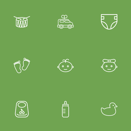 Set Of 9 Baby Outline Icons Set.Collection Of Clockwork Car, Diaper, Baby And Other Elements.