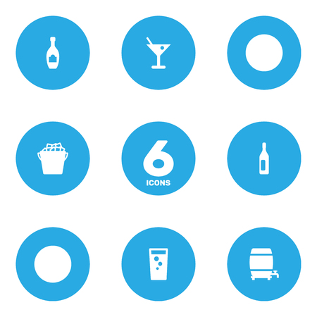 fizz: Set Of 6 Beverages Icons Set.Collection Of Alcohol, Martini, Soda And Other Elements. Illustration