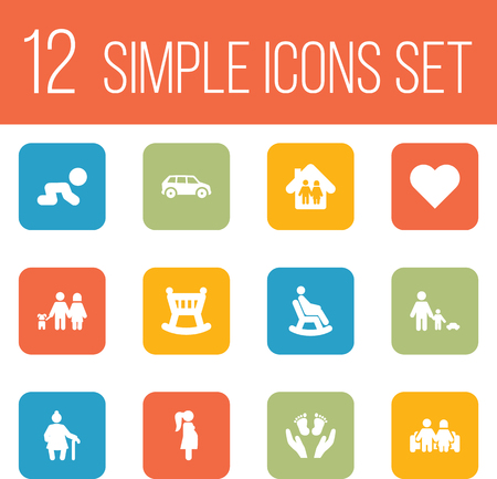 Set Of 12 People Icons Set.Collection Of Walking, Father With Son, Automobile And Other Elements. 向量圖像