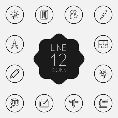 illuminator: Set Of 12 Creative Outline Icons Set.Collection Of Graphic Tablet, Property Plan, Brain And Other Elements.