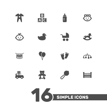 16 아기 아이콘 집합의 설정. 버스, 작업 물, 추적 및 다른 요소의 컬렉션입니다.