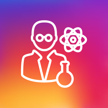Isolated Scholarly Outline Symbol On Clean Background. Vector Scientist Element In Trendy Style. Illustration