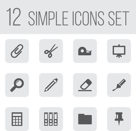Ensemble de 12 outils icônes Set.Collection de punaise, zoom lunettes, classeur et autres éléments. Banque d'images - 81688317