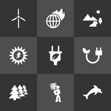 eco flowers basket: Set Of 9 Atmosphere Icons Set.Collection Of Nature, Energy, Fish And Other Elements.