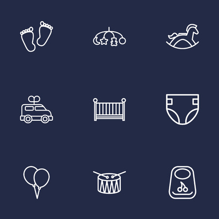deluxe: Set Of 9 Kid Outline Icons Set.Collection Of Drum, Crib, Rocking Horse And Other Elements.