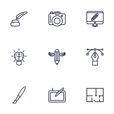 Set Of 9 Creative Outline Icons Set.Collection Of Property Plan, Bezier Curve, Writing And Other Elements.
