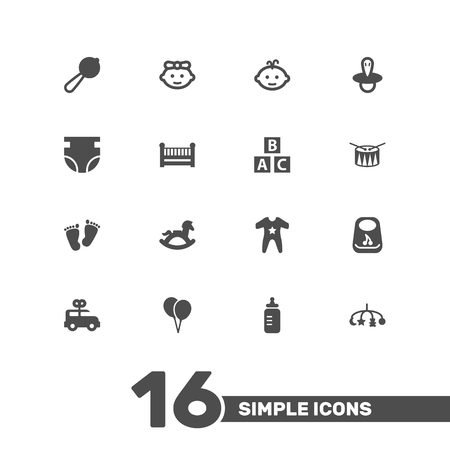 Set Of 16 Baby Icons Set.Collection Of Cot, Breastplate, Teat And Other Elements.