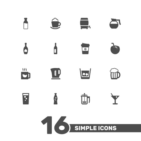 ferment: Set Of 16 Drinks Icons Set.Collection Of Electric Teapot, Green Tea, Soda And Other Elements.