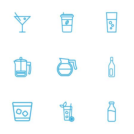 Set di 9 icone di contorno di bevande Set. Raccolta di cocktail, caffettiera, mojito e altri elementi. Vettoriali