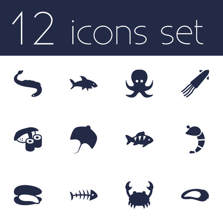 devilfish: Set Of 12 Seafood Icons Set.Collection Of Devilfish, Clam, Fish And Other Elements.