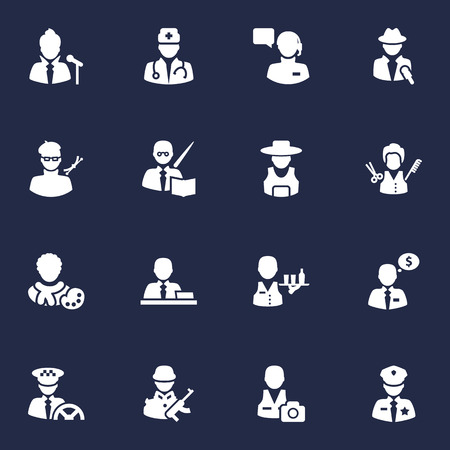 capitalist: Set Of 16 Professions Icons Set.Collection Of Tray, Actor, Manager And Other Elements. Illustration