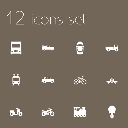 other side: Set Of 12 Transport Icons Set.Collection Of Scooter, Side View, Aircraft And Other Elements. Illustration
