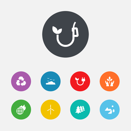Set Of 9 Atmosphere Icons Set.Collection Of Rubbish, Cleaning, Eco And Other Elements.