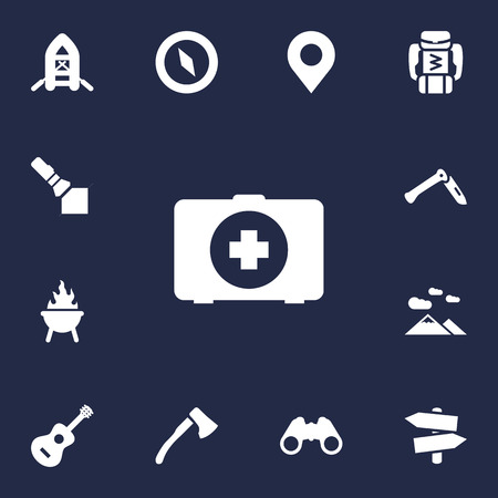 Set Of 13 Picnic Icons Set.Collection Of Bbq, Backpack, Location And Other Elements.