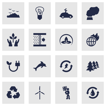 sewage system: Set Of 16 Atmosphere Icons Set.Collection Of Protection, Warm, Energy And Other Elements. Illustration