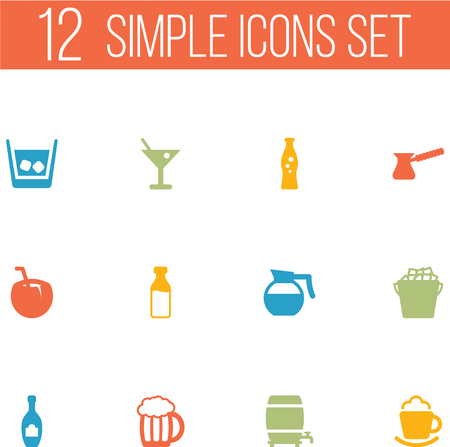 ferment: Set Of 12 Beverages Icons Set.Collection Of Fridge, Martini, Cream And Other Elements.