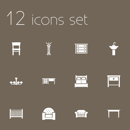 luster: Set Of 12 Situation Icons Set.Collection Of Worktop, Luster, Commode And Other Elements. Illustration