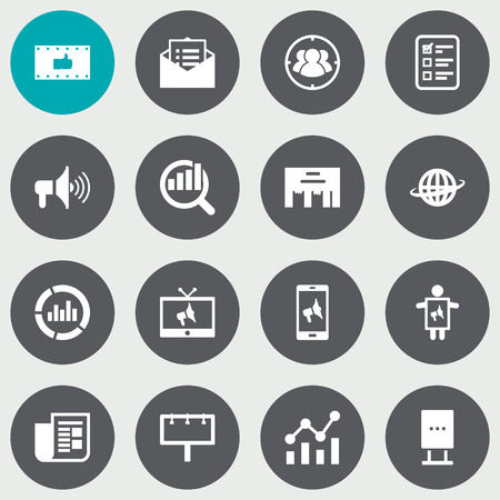 Set Of 16 Trade Icons Set.Collection Of Customer Summary, Billboard, Placard And Other Elements. Vectores