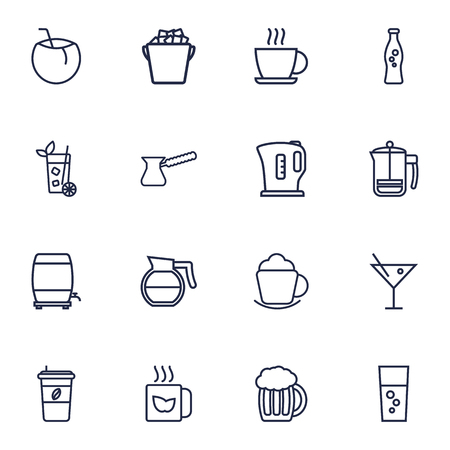 Set Of 16 Beverages Outline Icons Set.Collection Of Fizzy Water, Coffee, Kettle And Other Elements.