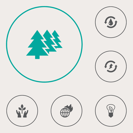 Set Of 6 Ecology Icons Set.Collection Of Renewable, Saving, Treatment And Other Elements.