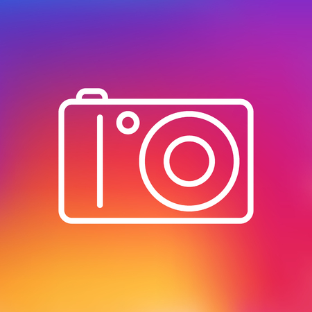 photographing: Isolated Photo Camera Outline Symbol On Clean Background. Vector Photographing Element In Trendy Style. Illustration