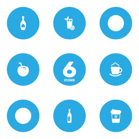 Set Of 6 Drinks Icons Set.Collection Of Espresso, Wine, Lemonade And Other Elements.