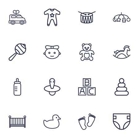 Set Of 16 Baby Outline Icons Set.Collection Of Rattles, Baby, Bottle And Other Elements.