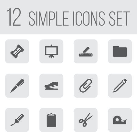 Ensemble de 12 outils Icons Set. Collection de dossier, crayon, perforateur et autres éléments. Banque d'images - 81688516