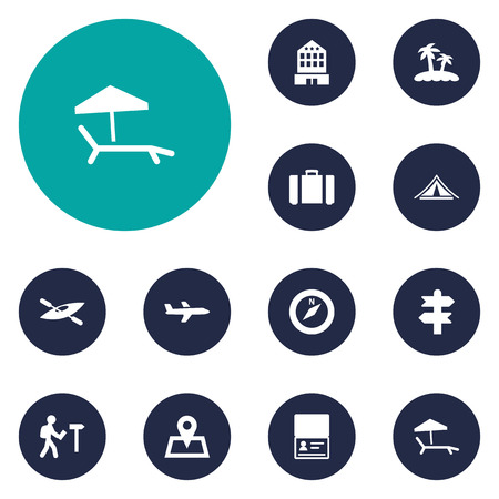 excursion: Set Of 12 Relax Icons Set.Collection Of Arrows, Canoe, Direction And Other Elements. Illustration